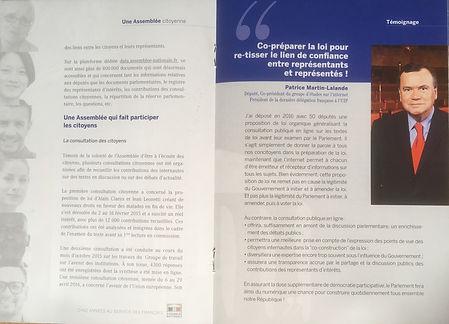 Créer en ligne une consultation législative citoyenne avant l'examen de tout texte de loi: c'est la proposition de  Patrice Martin-Lalande qui est un des six députés chargés  de présenter une initiative originale  dans le Bilan officiel de l'Assemblée pour la législature 2012-2017