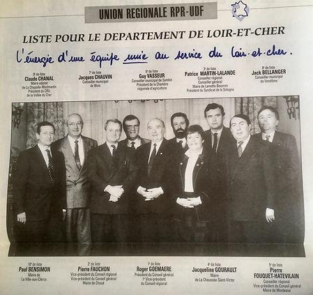 La liste sur laquelle figure Patrice Martin-Lalande pour les élections régionales du 22 mars 1992