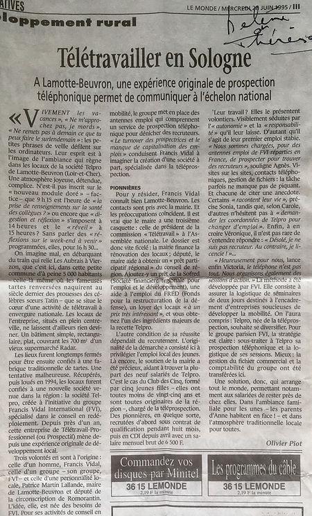 Article paru dans Le Monde du 28 juin 1995