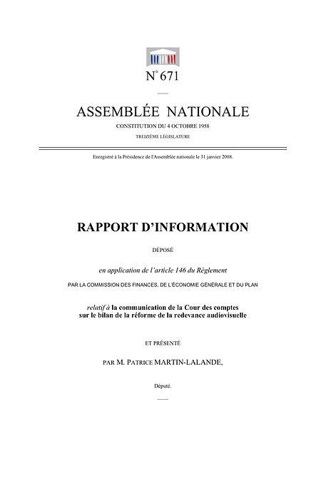 Rapport d'information sur le bilan de la réforme de la redevance (2008)