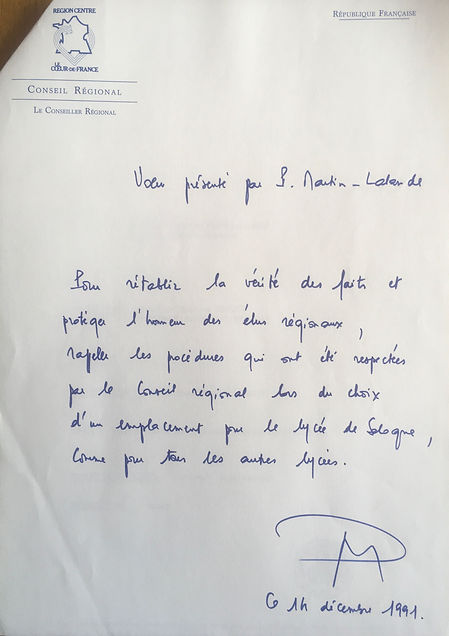 Le vœu déposé pour mettre fin aux polémiques sur le choix du lycée de Sologne