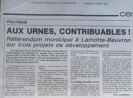 Article de La Nouvelle République du 2 mars 1984