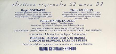 L'invitation à la réunion publique des élections régionales de 1992