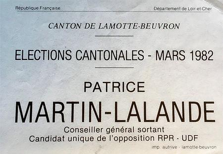 Bulletin de vote de Patrice Martin-Lalande aux élections cantonales de mars 1982