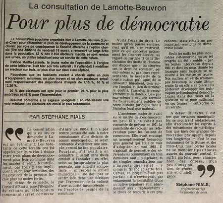 Article du professeur de faculté de droit Stéphane RIALS dans le Figaro du 19 mars 1984