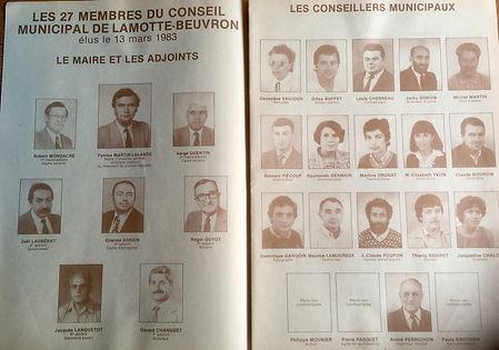 Les 27 membres du conseil municipal de Lamotte-Beuvron élus le 13 mars 1983