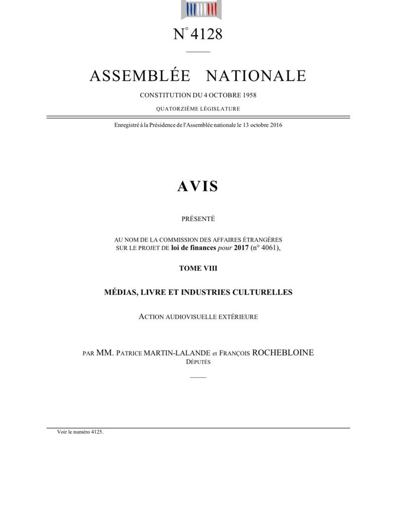 Rapport budgétaire audiovisuel extérieur 2017