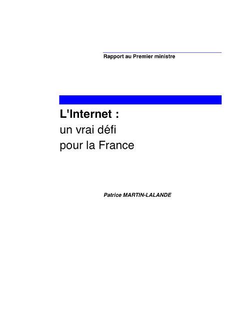 Couverture du rapport L'Internet, un vrai défi pour la France