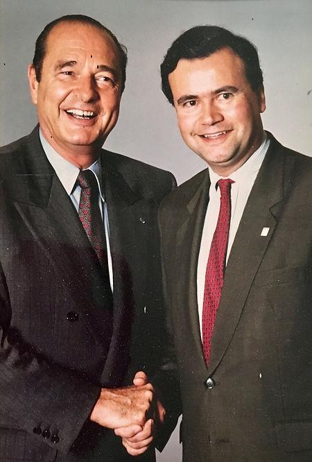 Patrice Martin-Lalande reçoit le soutien de Jacques Chirac pendant la campagne des législatives de 1993