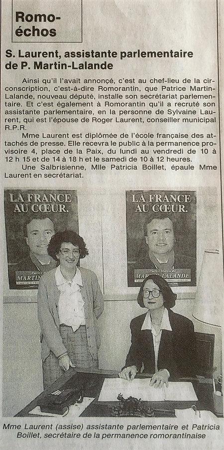 L'équipe parlementaire de 1993 à 2002 (La Nouvelle République, 11 avril 1993)
