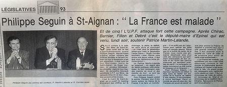 Philippe Séguin vient soutenir à St-Aignan Patrice Martin-Lalande candidat aux législatives de 1993