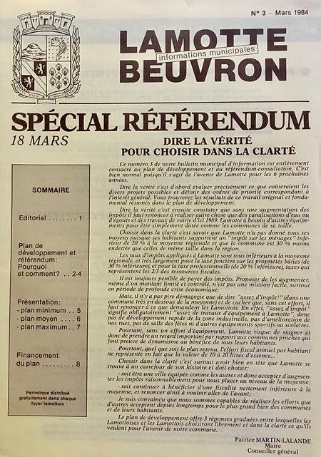 Informations municipales spécial référendum du 1er mars 1984
