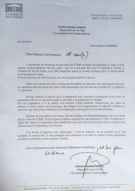 L'invitation à parrainer la candidature de Nicolas Sarkozy à la présidence de l'UMP