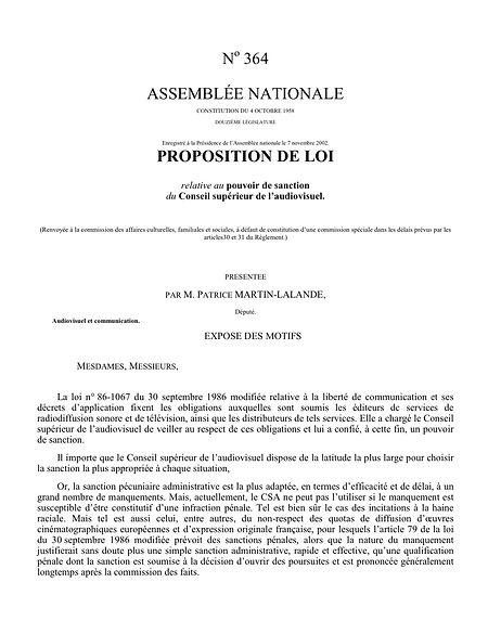 Couverture de la PPL sur le pouvoir de sanction du CSA (2002)