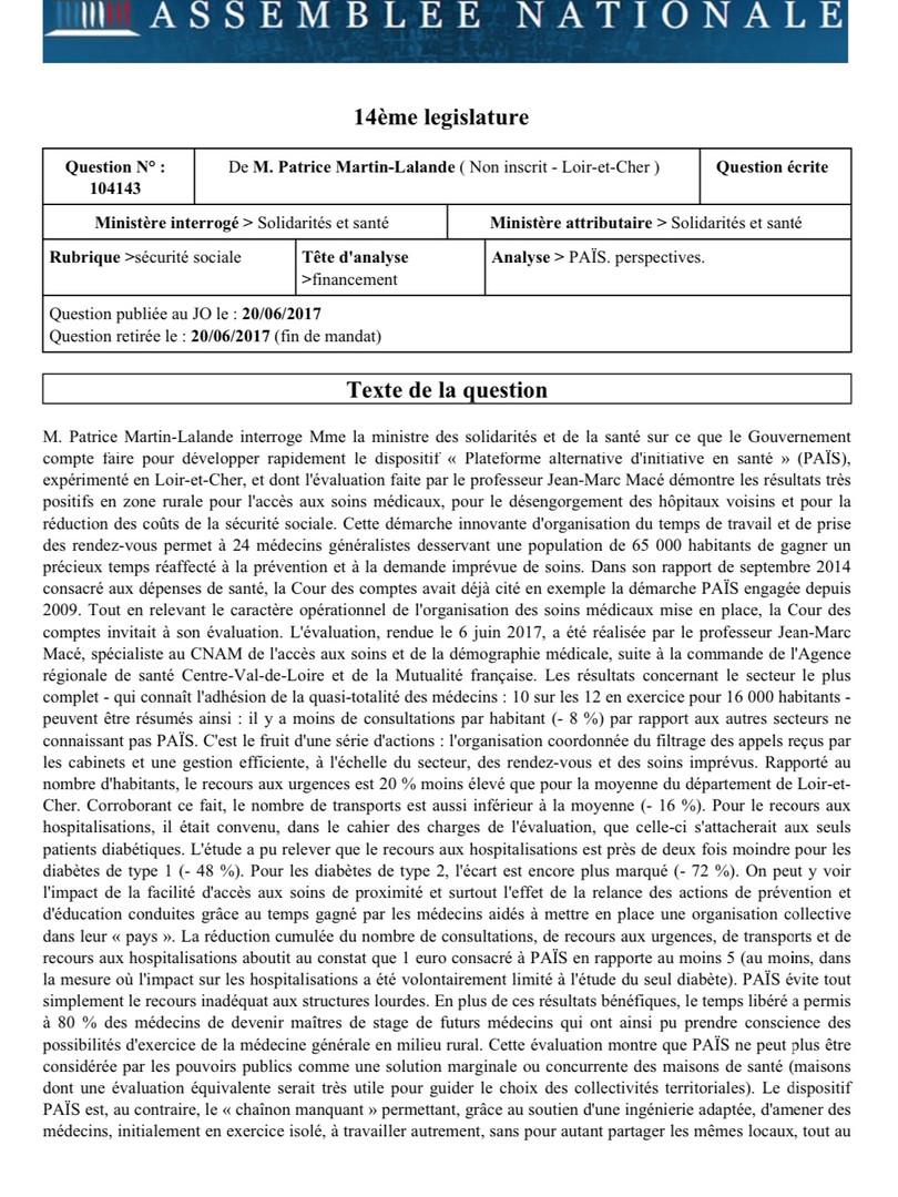 Le financement du dispositif PAÏS expérimenté en Loir-et-Cher