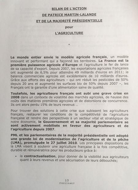 Bilan 2007-2012 de l'action menée pour l'agriculture par la majorité présidentielle et par PML