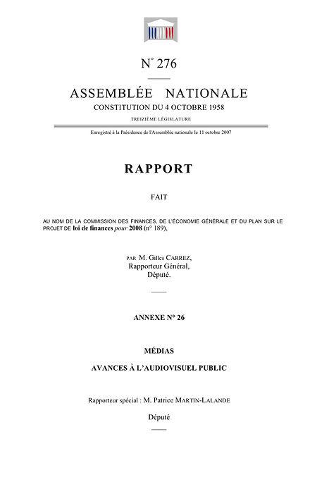 Couverture du rapport sur le budget des médias 2008 (2007)