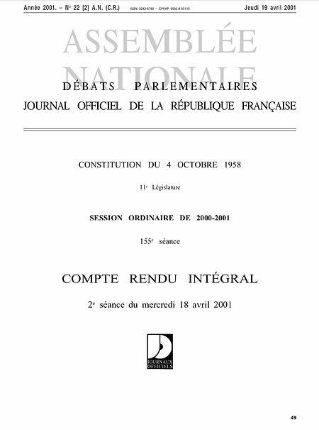 Patrice Martin-Lalande intervient dans le projet de loi sur l'APA (19/04/2001)