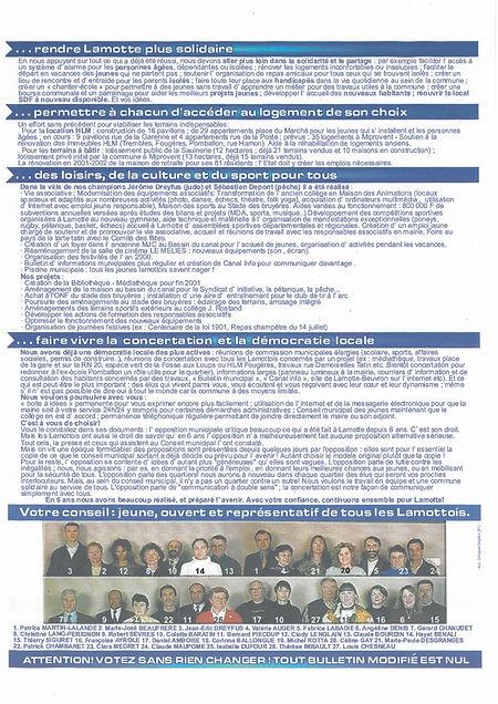 Tract municipales 2001 verso