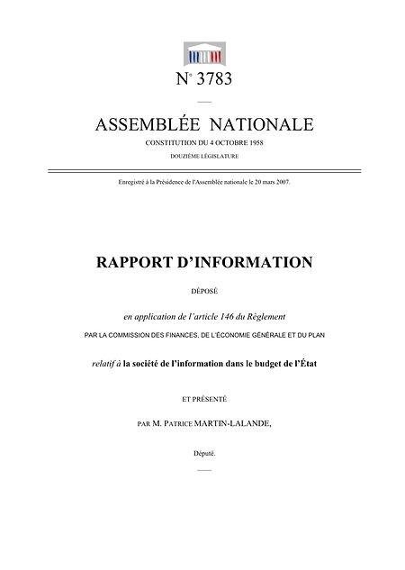 Rapport relatif à la société de l'information dans le budget de l'Etat