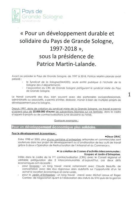 Le bilan 1997-2018 de l'action du Pays de Grande Sologne