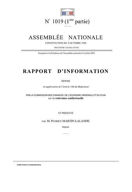Rapport d'information de 2003 sur la redevance audiovisuelle