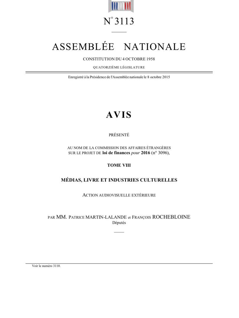 Le budget de l'audiovisuel extérieur 2016