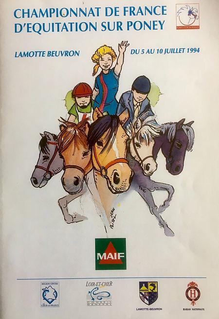 Couverture de la présentation du 1er Championnat de France d'équitation sur Poney à Lamotte-Beuvron du 5 au 10 juillet 1994