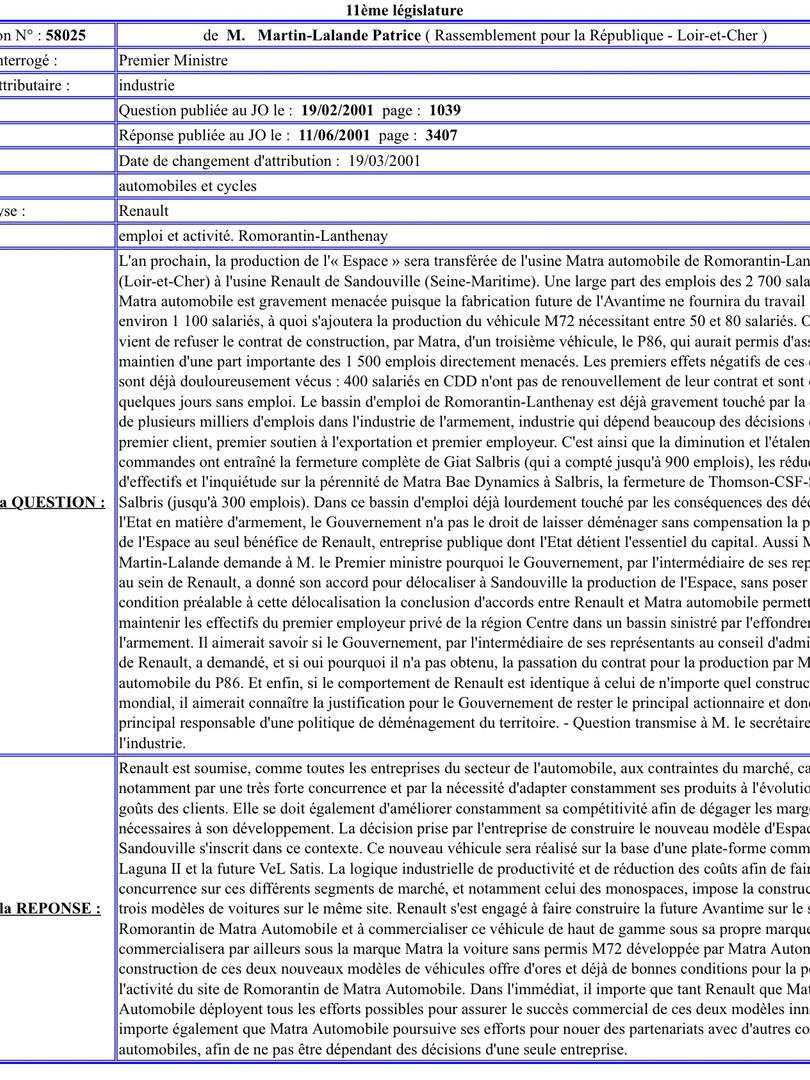 Question écrite de Patrice Martin-Lalande sur l'avenir de Matra Automobile (19/02/2001)