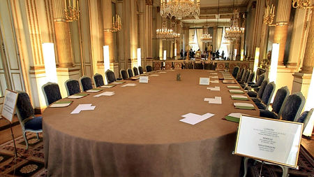 Le salon Murat de l'Elysée où se tient le Conseil des ministres