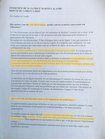 Numérique et démocratie : interview par le Journal du Parlement, en avril  2004