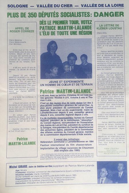 Journal  électoral d'avant le 1er tour des législatives 1988
