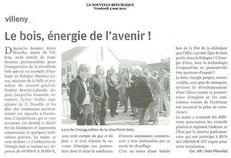 La Nouvelle République rend compte de l'inauguration de la chaufferie bois de Villeny