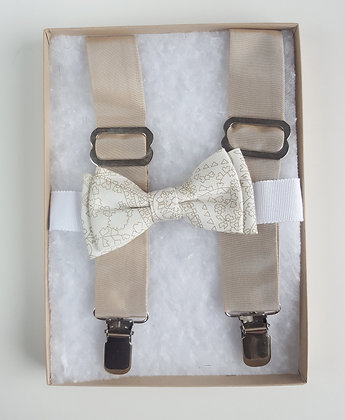 Silk Tafta Suspenders with Cotton Bow Tie