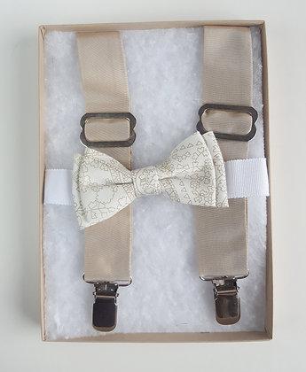 Silk Tafta Suspenders with Cotton Bow Tie
