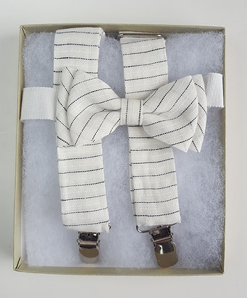 Linen Suspenders with Matching BowTie