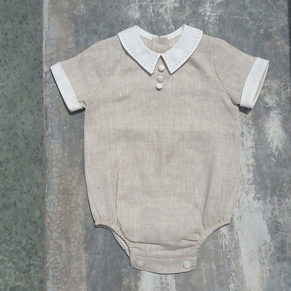Linen Onesie with French Knots