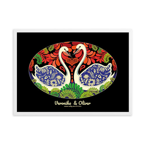 Wedding Swans Black - personalised framed poster art /w