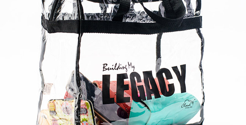 """""""Building My Legacy"""" Clear Tote with Zipper"""