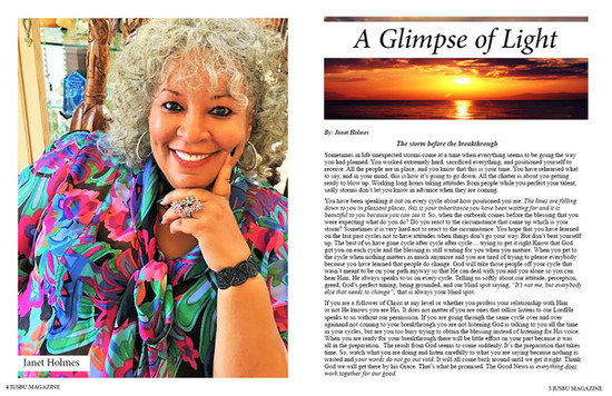 Published Author Janet Holmes gives us A Glimpse of Light in Jusbu Magazines Summer issue