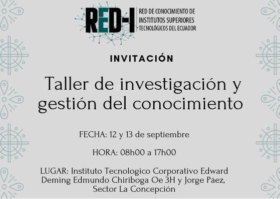 Taller de investigación y gestión del conocimiento de la Red-i