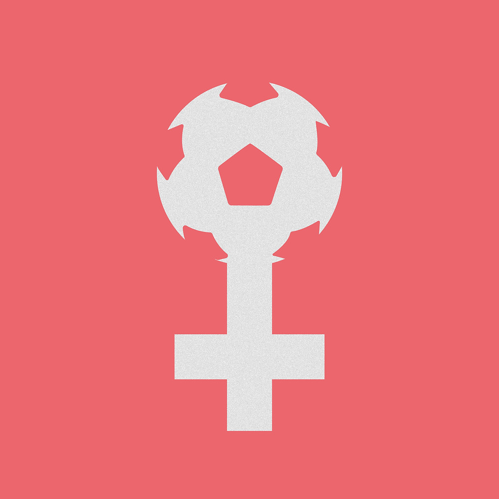 a pink and white graphic of the traditional Venus gender sign, although the top circle is replaced by a soccer ball.
