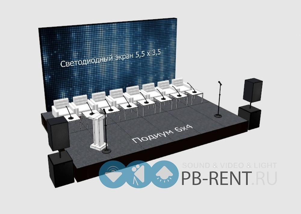 3d визуализация подиума со светодиодным экраном и звуком