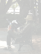unhoused person on park bench