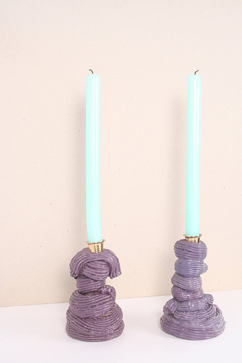Plastic Baroque Eggplant Candlesticks