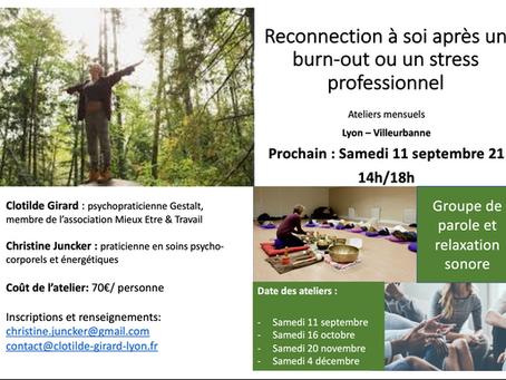 Série d'ateliers sur le burn out à Lyon-Villeurbanne