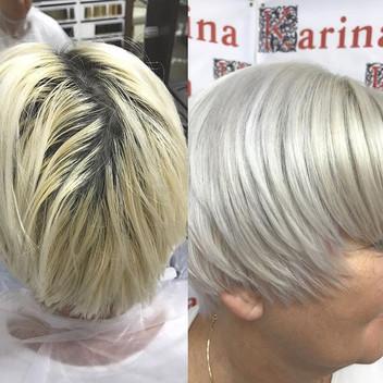 Серый, серебристый холодный блонд с переливом в платиновый