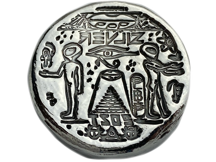 Ancient Alien 2 OZT Hand Poured Silver Bar