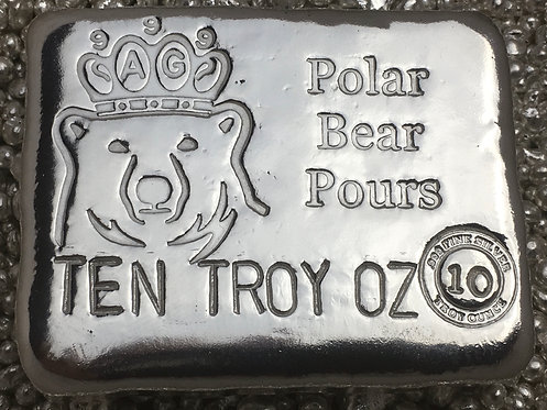 10 Troy Oz Hand Poured silver bar crowned bear