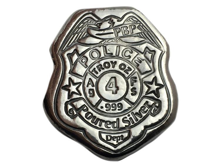 4 OZT police badge POURED silver Dept!